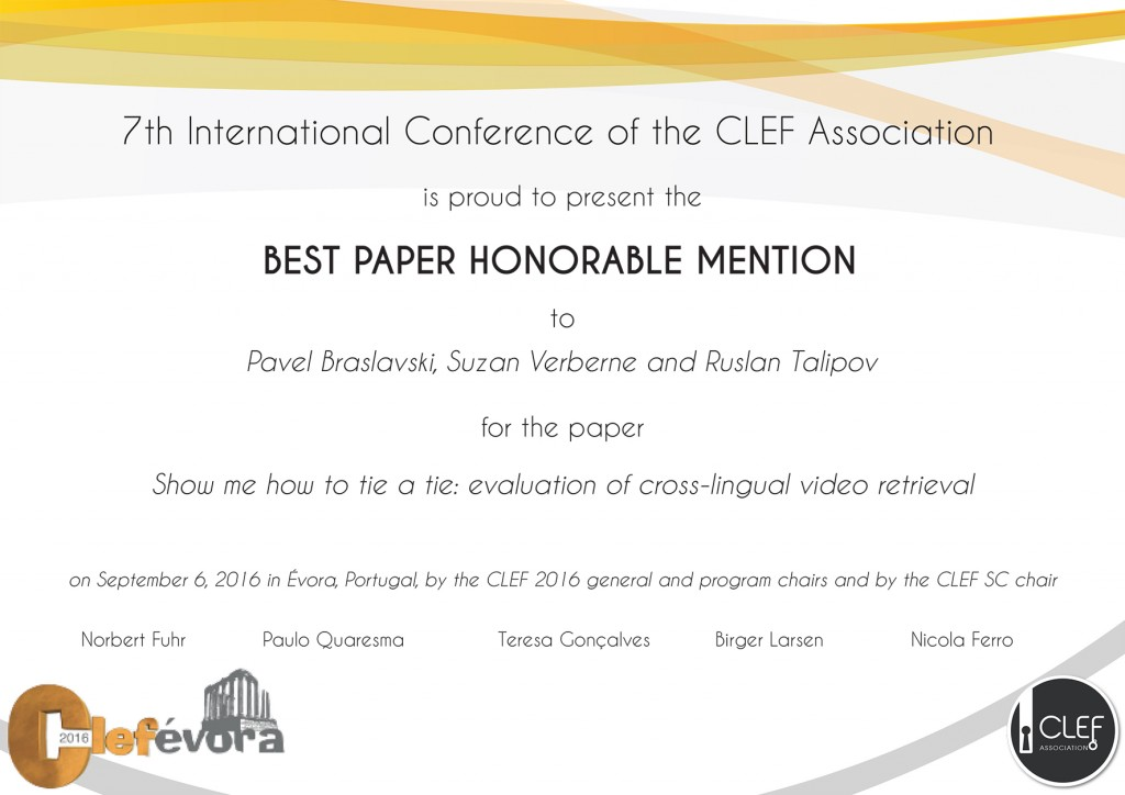 Beste paper honerable mention at CLEF 2016
