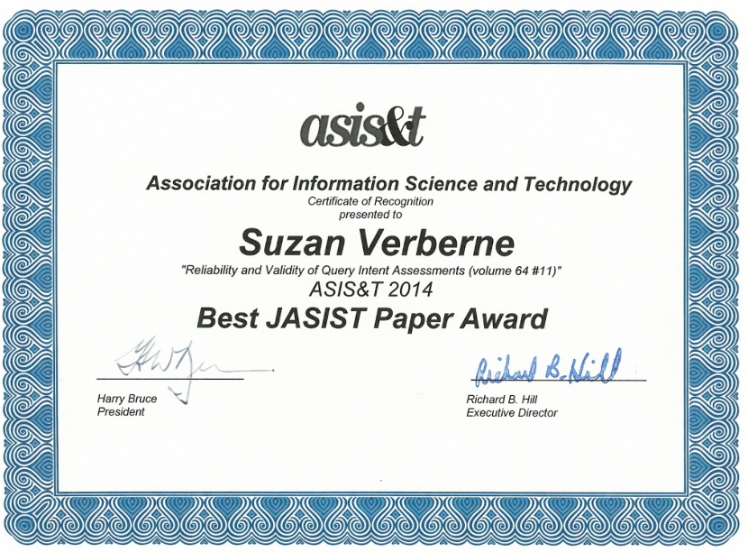 JASIST best paper award 2014